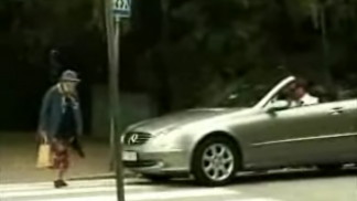 Old woman hits car with handbag causes airbag explosion funny car video
